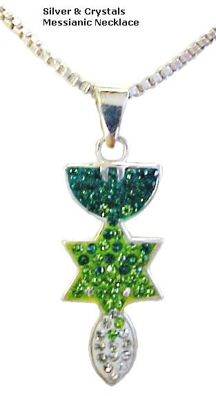Sterling Silver Messianic Necklace With Crystals - powerofchrist