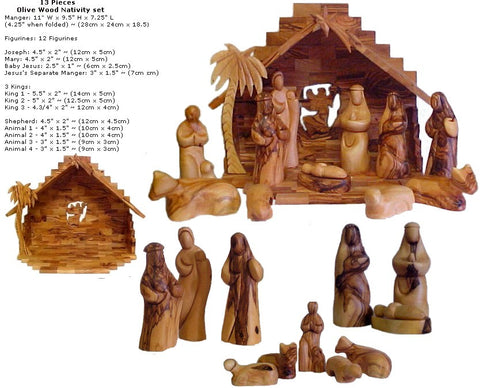 Faceless Olive Wood Nativity Set - powerofchrist
