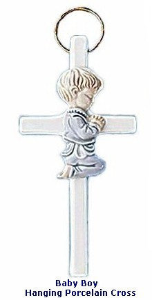 Baby Boy Girl Hanging Porcelain Cross - powerofchrist