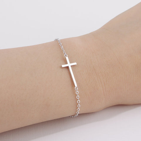 Silver Or Gold Plated Cross Bracelet For Women - powerofchrist