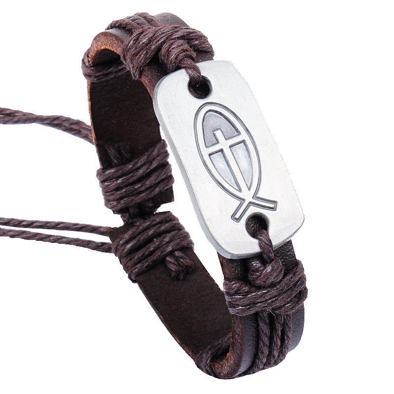 Stunning Leather Fish Bracelet - powerofchrist