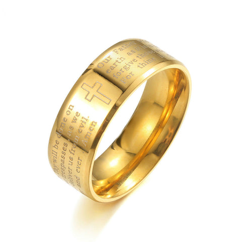 18K Gold plated Stainless Steel Ring With The Lords Prayer - powerofchrist