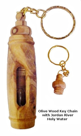 Olive Wood Key Chain with Jordan Holy Water - powerofchrist