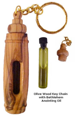 Olive Wood Key Chain with Bethlehem Anointing Oil - powerofchrist