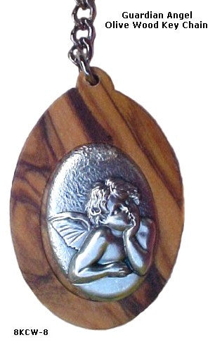 Guardian Angel Olive Wood Key Chain - powerofchrist