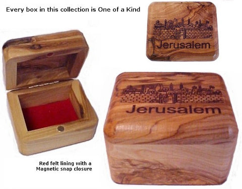 Olive Wood Box With View Of Jerusalem - powerofchrist