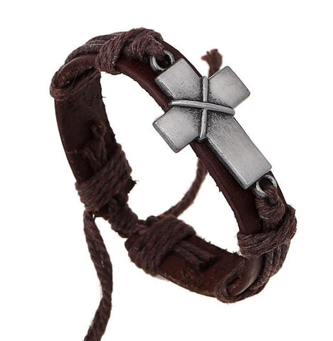 Leather Bound Cross Bracelet - powerofchrist