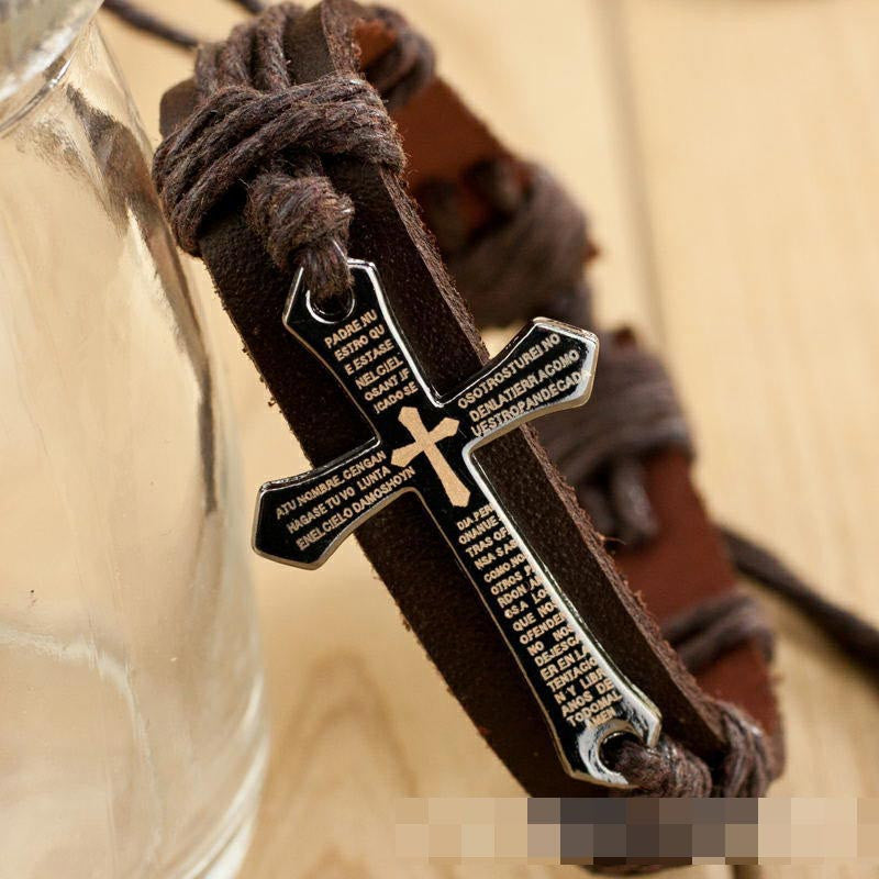 Men's Inscribed Leather Cross Bracelet - powerofchrist
