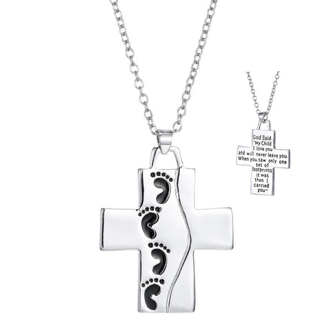 Silver Plated Footsteps Cross Necklace - powerofchrist