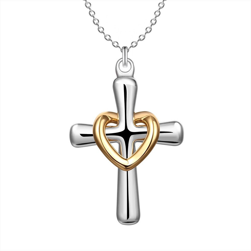 Silver Plated Cross With Heart Necklace - powerofchrist