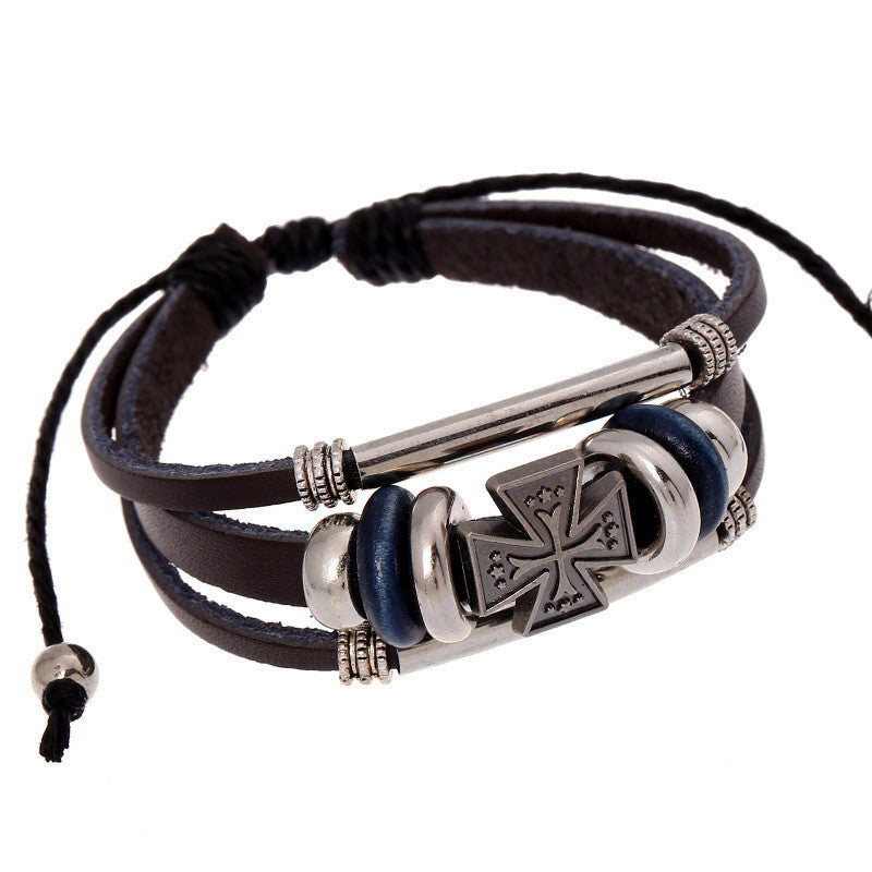 Leather Maltese Cross Bracelet - powerofchrist