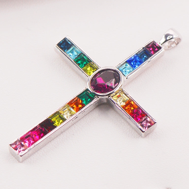 Women's Cross Gem Stone Pendant - powerofchrist