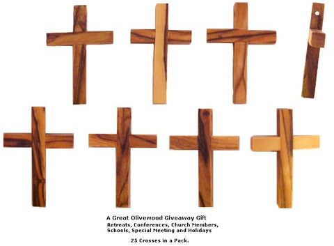 "Olive Wood Cross 2"" Pack Of 25 - powerofchrist"