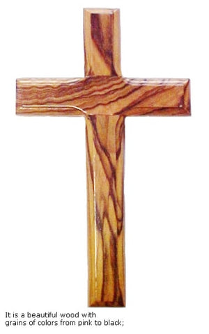 Hand Carved Olive Wood Cross 9.8 Inch - powerofchrist
