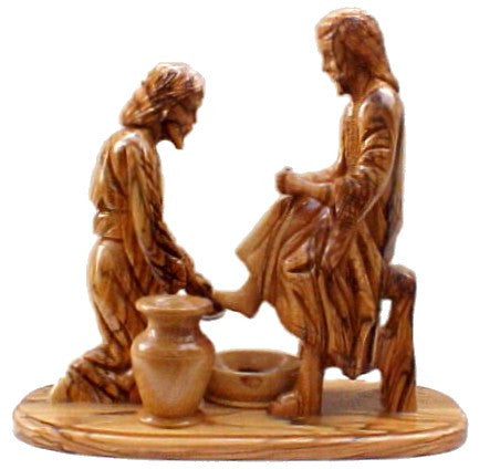 Jesus Washes Peter's Feet Olive Wood Carving - powerofchrist