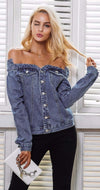 Off Shoulder Denim-Tops-Walquiria Collection