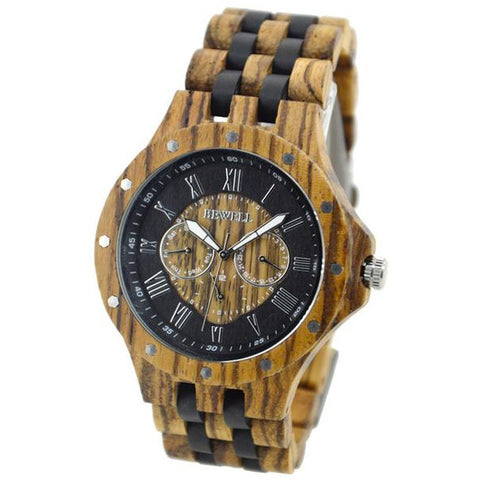 Zaube - Men's Zebra and Black Wood Analog Wristwatch