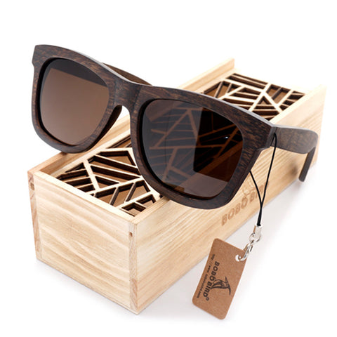 Albronze - Unisex Ebony Wood Polarized Square Sunglass