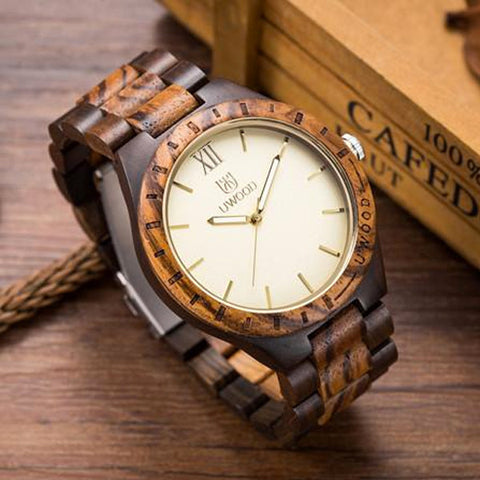 Bancordo - Men's Zebra and Brown Wood Analog Wristwatch | Subtle Fit