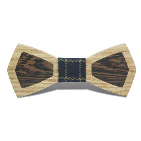 Patchwork - Retro Two-Toned Wenge & Ash Wood, Pattern Knot, Bow Tie
