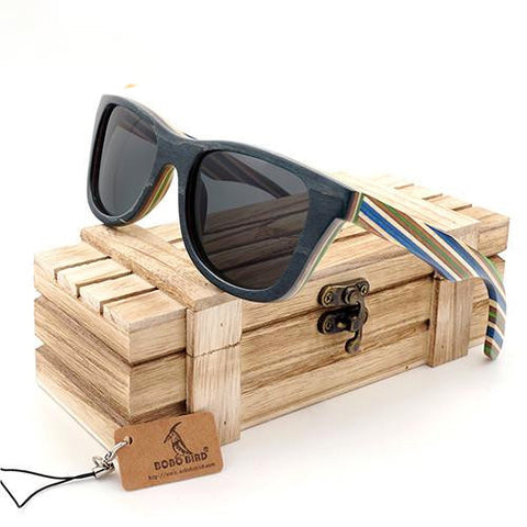 Evolume - Men's Bamboo Wood Polarized Square Sunglass - Subtle Fit
