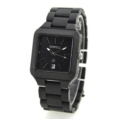 Haussi - Men's Black Wood Analog Wristwatch