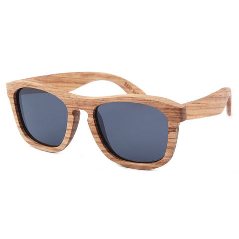 Bundestera - Unisex Zebra Wood Polarized Square Sunglass