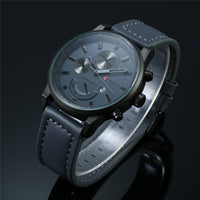 Chometroy - Men's Luxury Stainless Steel, Leather Band, Analog Wristwatch