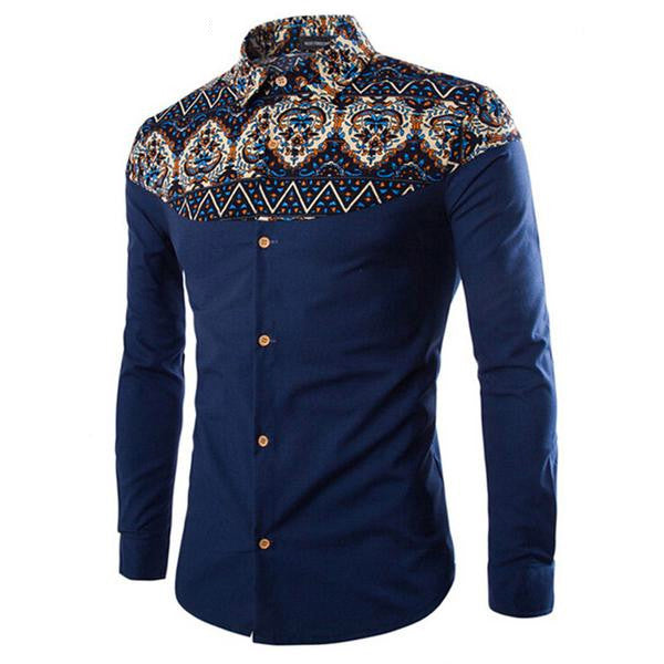 Austribuy - Men's Casual Pattern Long Sleeve Shirt