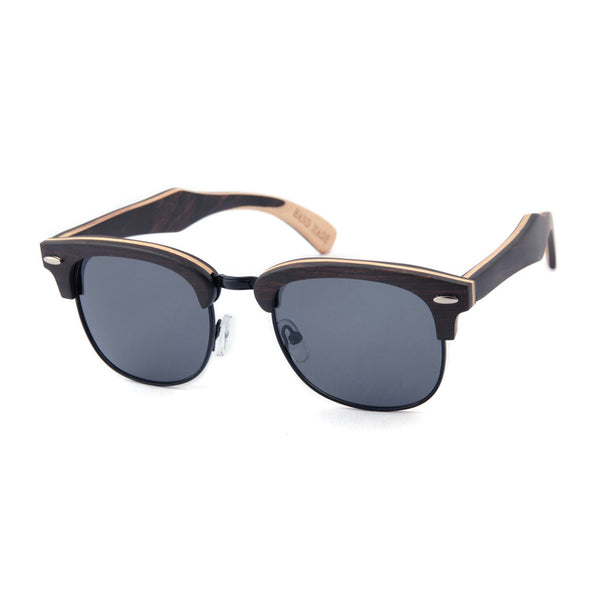 Abordeaux - Unisex Wood Mirrored Semi-Rimless Sunglass