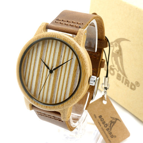 Leather Zebra II - Men's Bamboo Wood, Leather Band, Analog (No Dial) Wristwatch - Subtle Fit