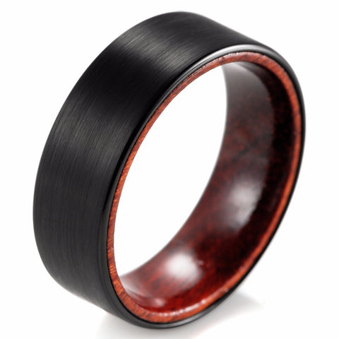 Invaria - 8MM Red Wood Inner Band Black Tungsten Comfort Fit Ring - Subtle Fit