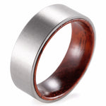 Ribassimo - 8MM Koa Wood Inner Band Titanium Comfort Fit Ring - Subtle Fit