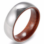 Autostral - 8MM Red Sandal Wood Inner Band Titanium Ring - Subtle Fit