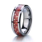 Sista - 8MM Red Wood Inlay Tungsten Carbide Comfort Fit Ring - Subtle Fit