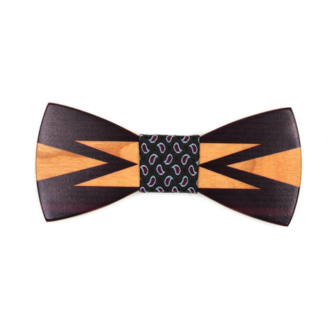 Subishi - Novelty Black Colored Design Wood, Pattern Knot, Bow Tie