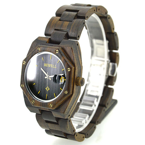 Craindra - Men's Black Sandal Wood Analog Wristwatch