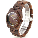 Prations - Men's Red Sandal Wood Analog Wristwatch