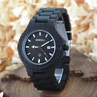 Visition - Men's Black Wood Analog Wristwatch