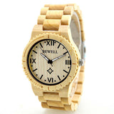 Ouvera - Men's White Maple Wood Analog Wristwatch
