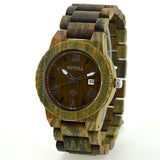 Avorable - Men's Green Wood Analog Wristwatch