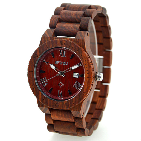 Bloquets - Men's Red Wood Analog Wristwatch | Subtle Fit
