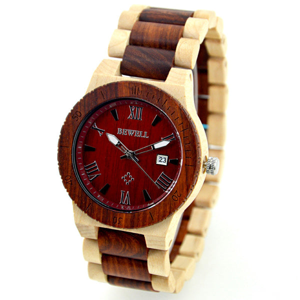 Cheverse - Men's Maple and Red Wood Analog Wristwatch | Subtle Fit