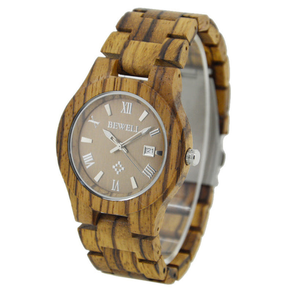 Surgence - Unisex Zebra Wood Analog Wristwatch
