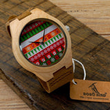 Mr. Holiday - Men's Bamboo Wood, Leather Band, Analog (No Dial) Wristwatch