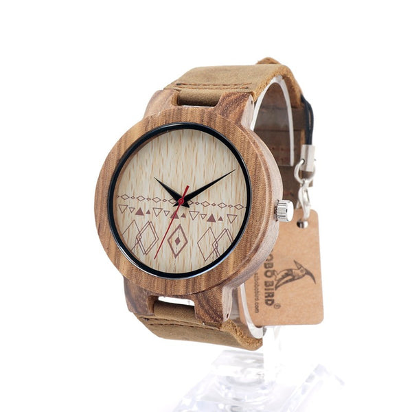 Diamonds - Men's Bamboo Wood, Leather Band, Analog (No Dial) Wristwatch - Subtle Fit