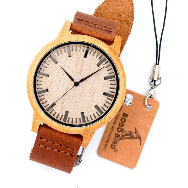 Simple - Men's Bamboo Wood, Leather Band, Analog Wristwatch - Subtle Fit