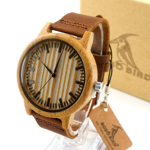 Leather Zebra - Men's Bamboo Wood, Leather Band, Analog Wristwatch - Subtle Fit
