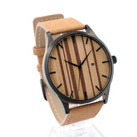 Dimnuti - Men's Stainless Steel Case, Wood Dial, Leather Band, Analog Wristwatch | Subtle Fit