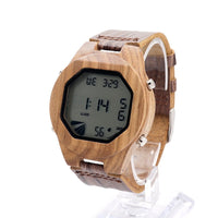 Digits - Men's Bamboo Wood, Leather Band, Analog Wristwatch - Subtle Fit